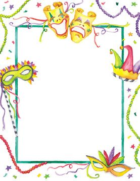 mardi gras border template | mardi gras borders | just beautiful, Birthday invitations