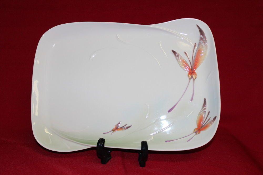 Franz Papillon Butterfly Porcelain Tray 16L x 11 1/4W x  1/2 H FZ00966 MIB