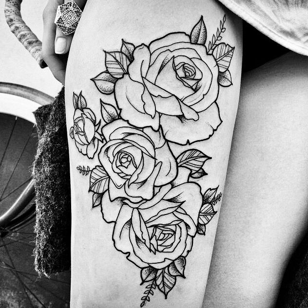 Rose Outlining Bozze Per Tatuaggi Tatuaggi Coscia Idee Per Tatuaggi