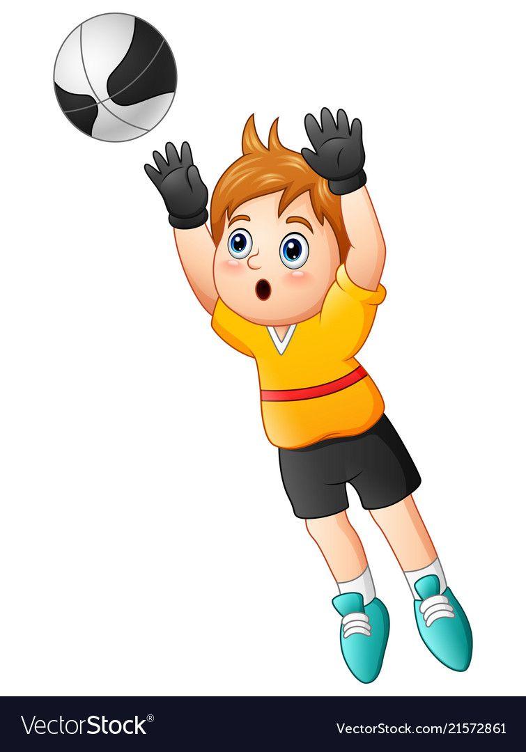Cartoon Boy Goalkeeper Catching A Soccer Ball Vector Image On Vectorstock Cartoon Boy Goalkeeper Cartoon