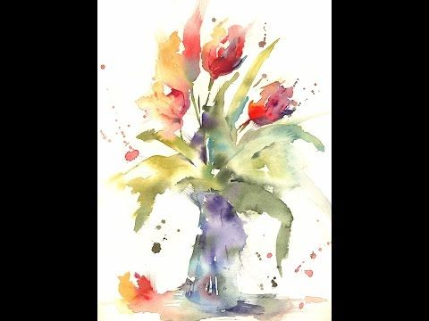 Simple Loose Watercolour 'Tulip's' with Andrew Geeson - YouTube