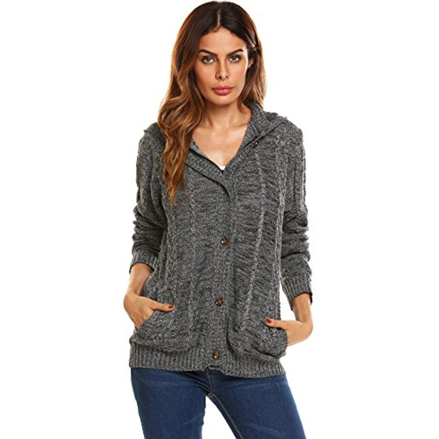 Women's Long Sleeve Pocket Hoodie Cable Knit Cardigan Sweater Coat ...