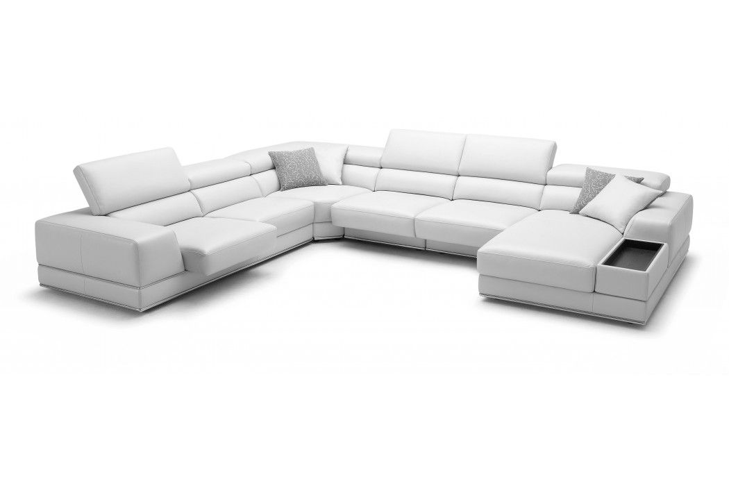 Bergamo Extended Sectional Leather Modern Sofa White Leather Sectional Leather Sectional Sofa White Sectional