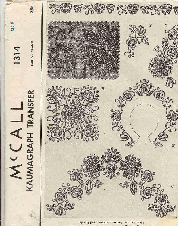 Bead embroidery template mccall vintage s kaumagraph