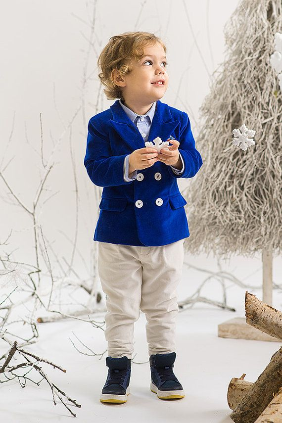 Royal Blue Suit Christening Outfit Ring by PetiteCocoCeremonie