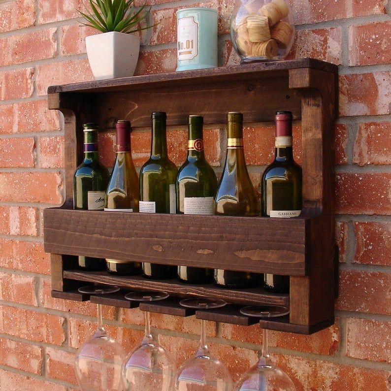 READY TO SHIP Rustic 6 Bottle Wine Rack with 4 Glass Slot ...
