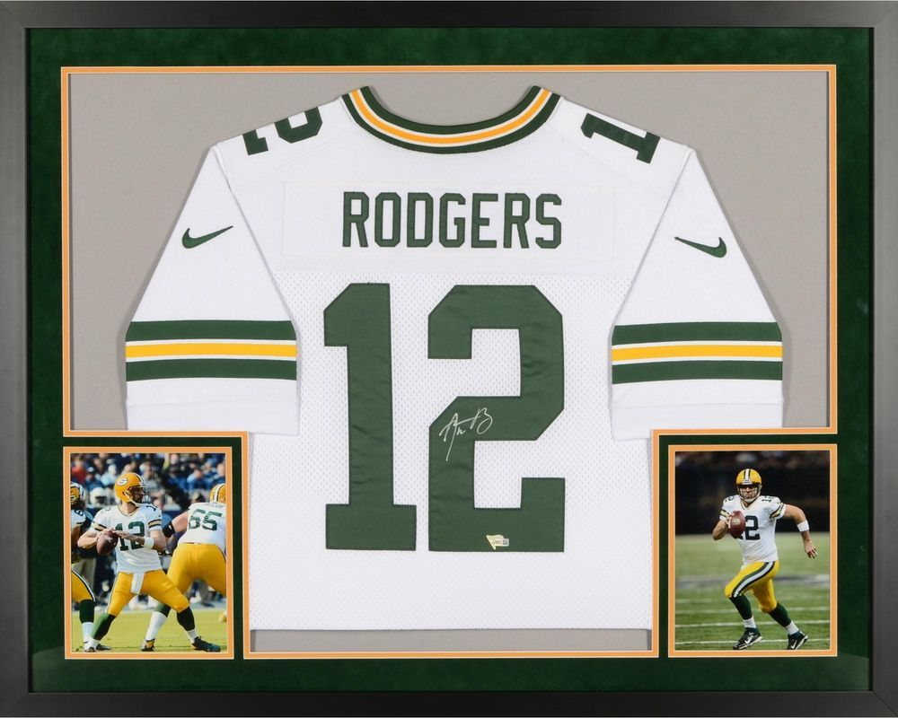 Aaron Rodgers GB Packers Framed Signed White Elite Jersey - Fanatics ...