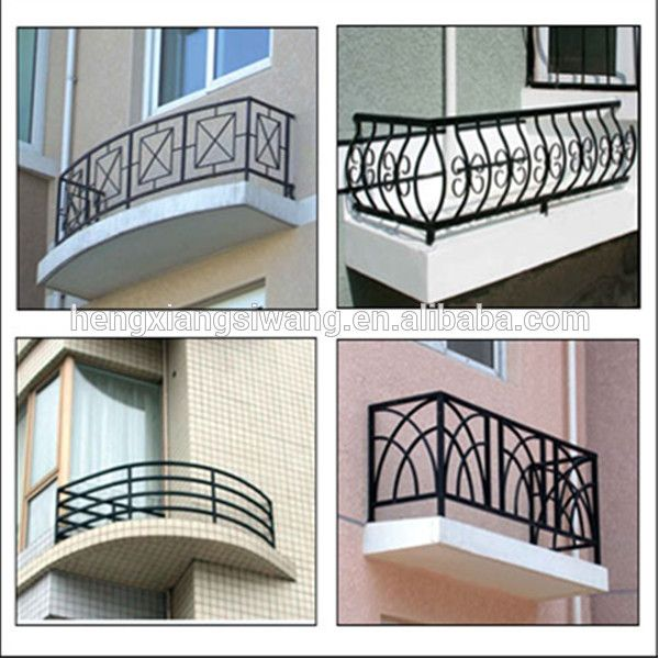 Hot sales simple design wrought iron balcony railing china for Terrace railing design