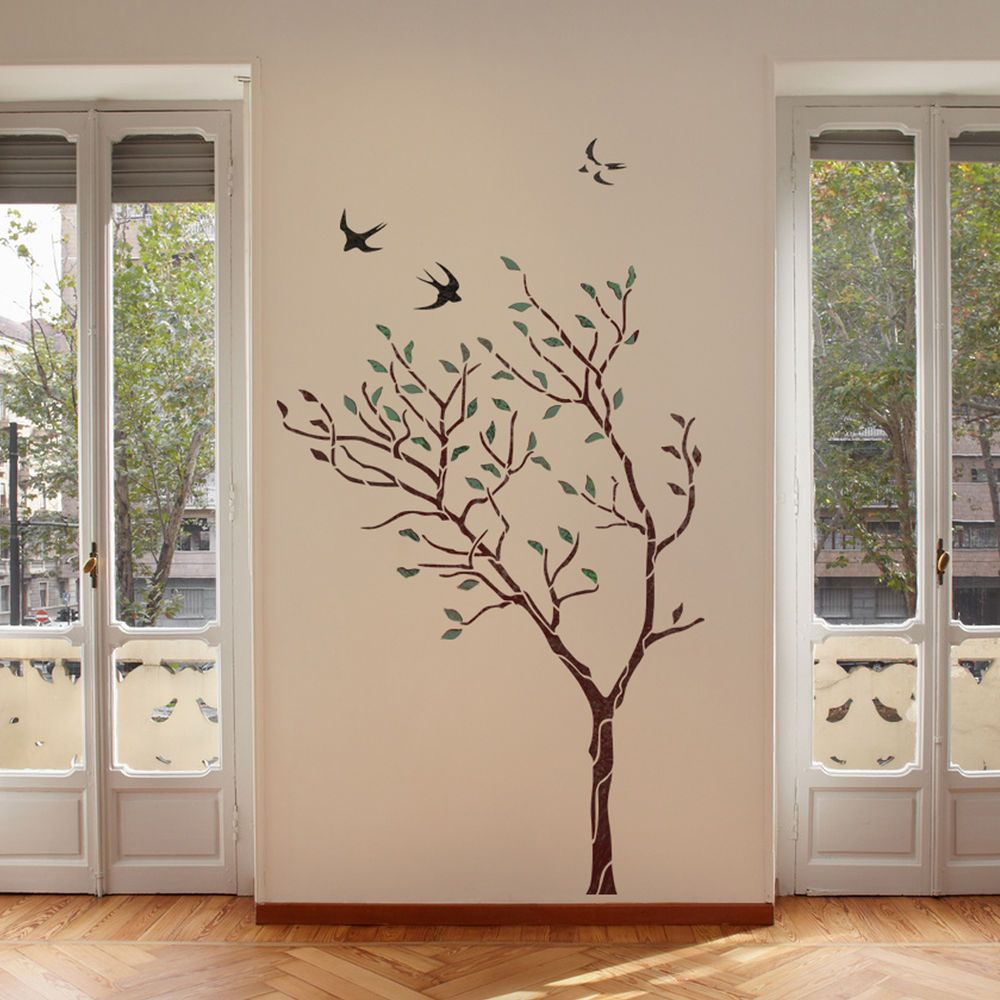 Large tree with birds wall stencil reusable stencil for better large tree with birds wall stencil reusable stencil for better than wallpaper amipublicfo Images