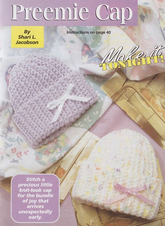 Preemie Baby Cap and Wee Mittens Crochet Patterns - Easy Newborn Hat ...