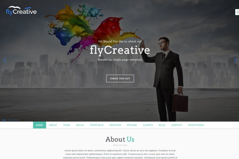 Flycreative One Page Html Template Html Templates Digital Illustration Tutorial Modern Wordpress Themes
