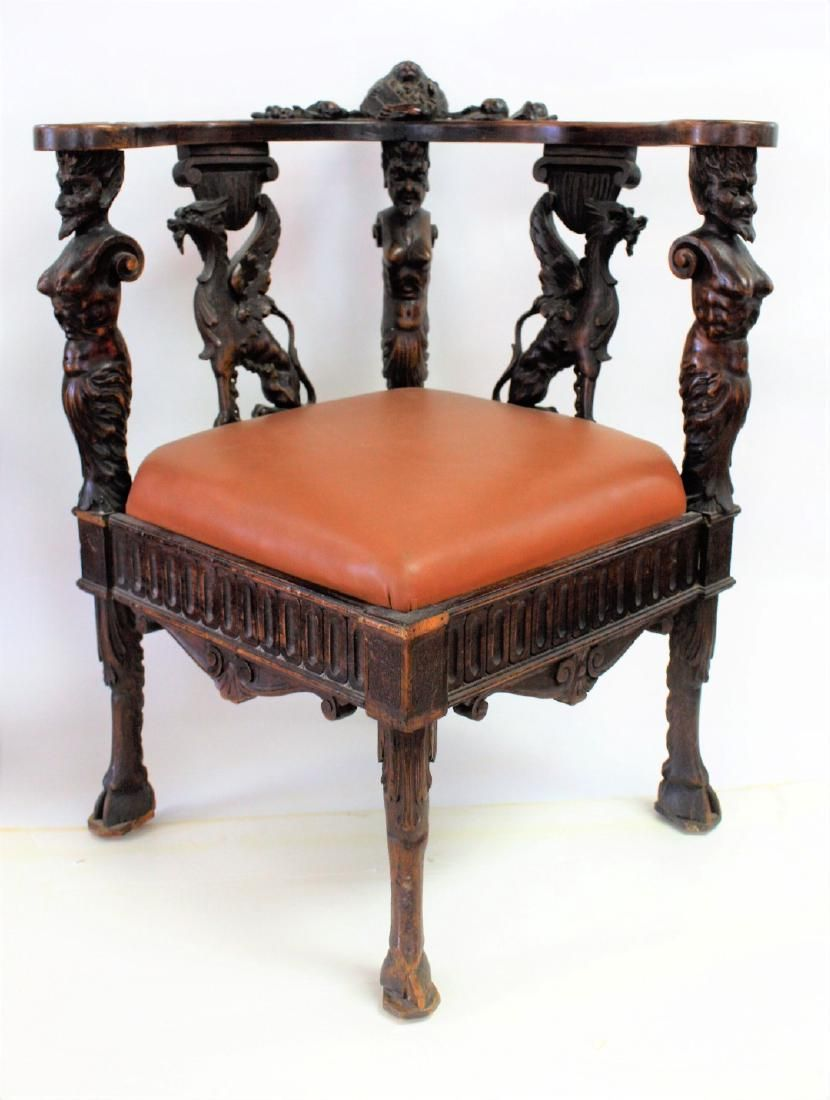 Italian Carved Walnut Corner Chair 19th Century Furniture Antique Chairs