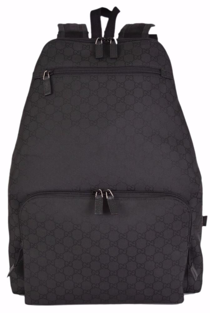 cea256b20e1d New Gucci 179606 Black Nylon Unisex GG Guccissima Travel Backpack Rucksack  Bag…