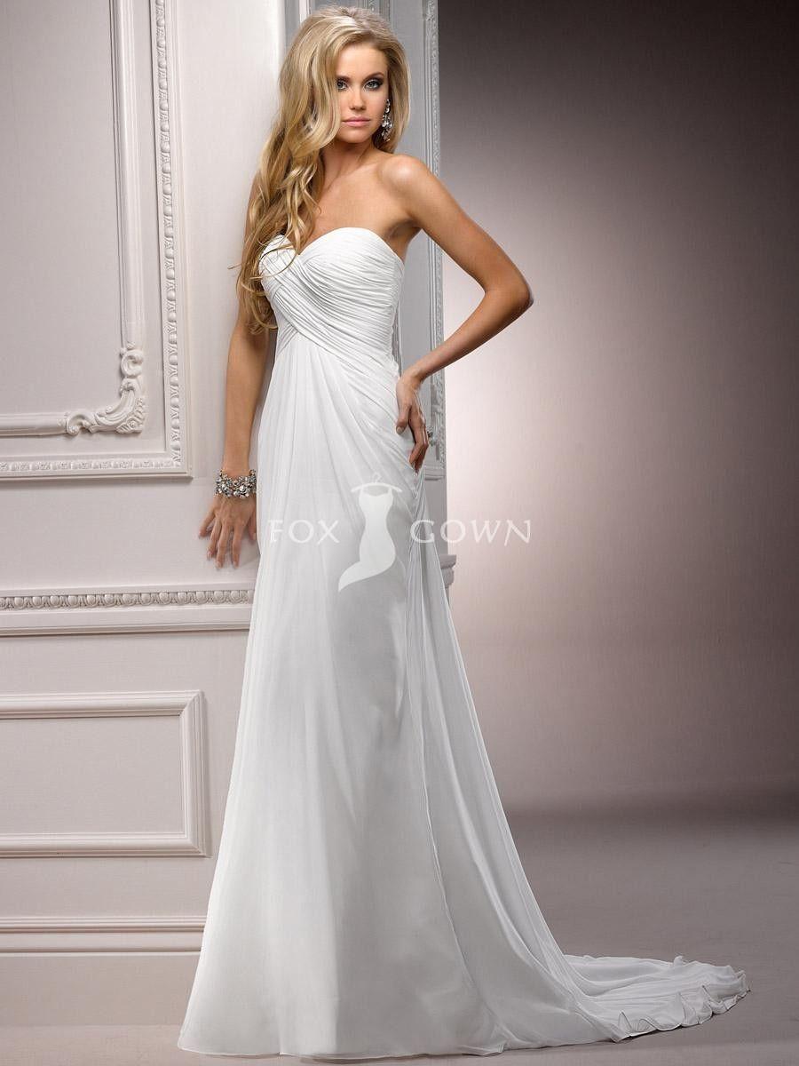 Custom Chiffon A Line Ruched Bodice Wedding Dress With Sweetheart Neckline