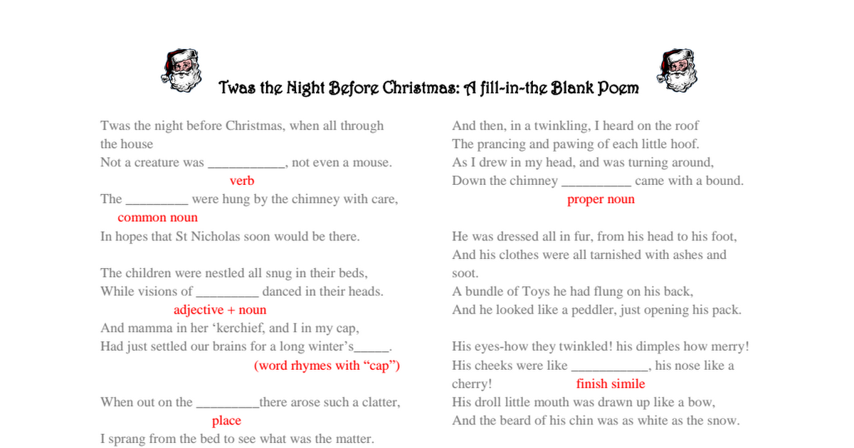 Twas the night before Christmas fill in the blank poem.pdf