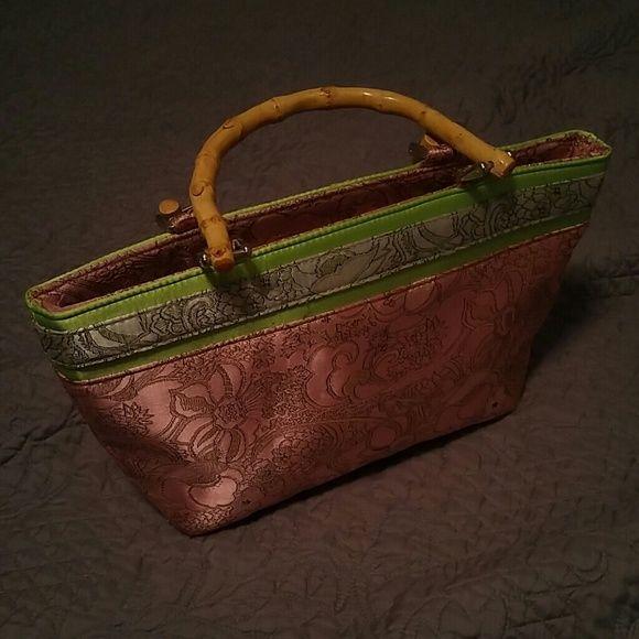 Cute handbag Like New Pink and Lime green handbag with bamboo handles Bags Totes