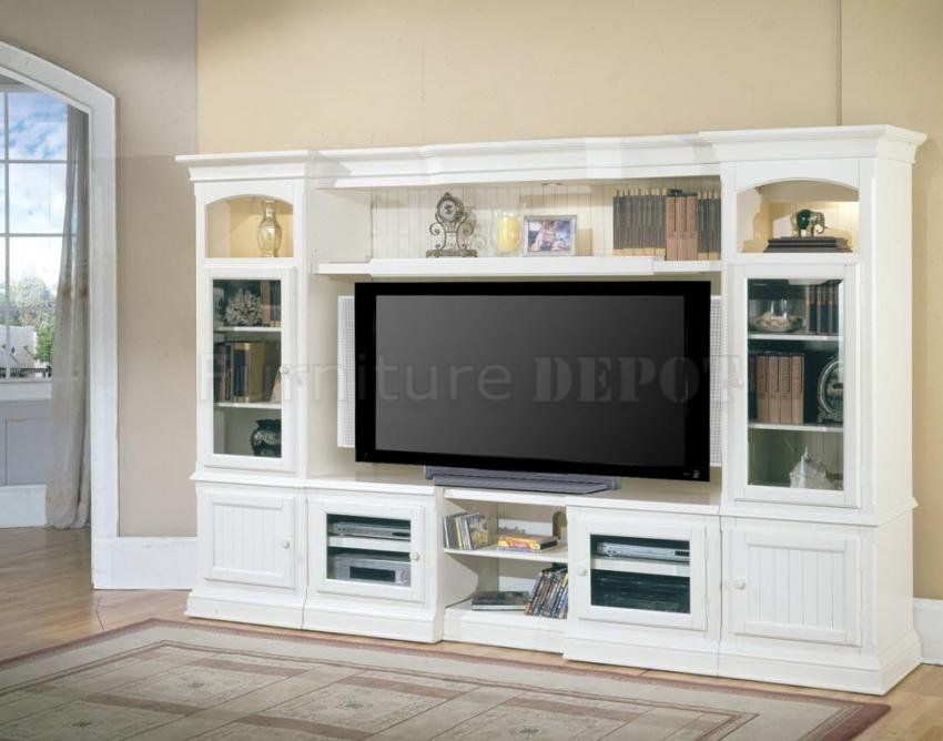 White Entertainment Wall Unit 5 Pc Vintage Modern Hartford Expandable