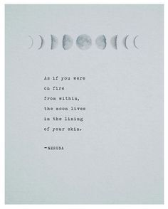 Pablo Neruda poetry art print, moon quote poster, wall decor, As if you were on fire from within, Neruda poem, Love poem, gift for her