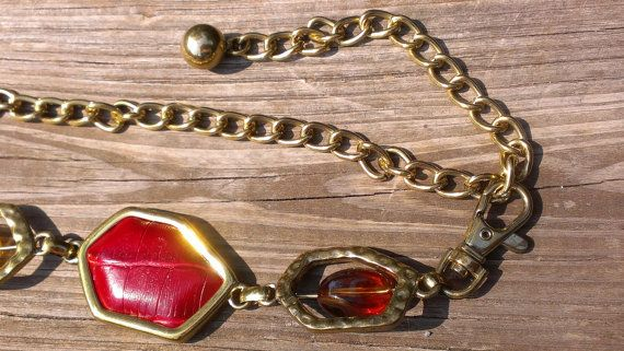 Hipster Belt Boho Mod Gold Tone Drop Chain Link Red Leather Stone Lucite Neutral Earth Tone Transparent Confetti 1980s Womens Accessory