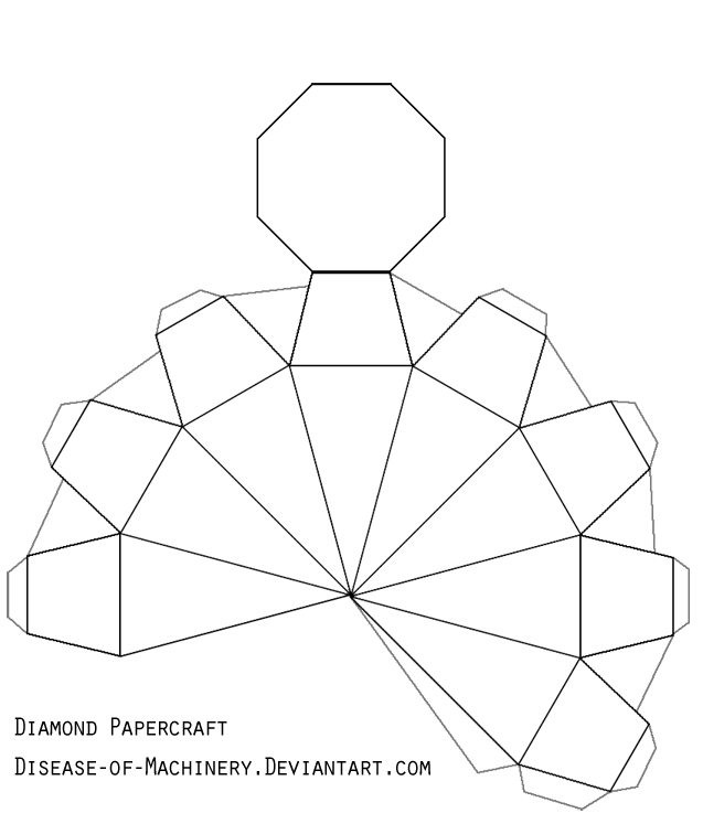 Diamond Or Gem Papercraft By Disease Of Machinery On Deviantart Paper Diamond Diamond Template Diy Paper