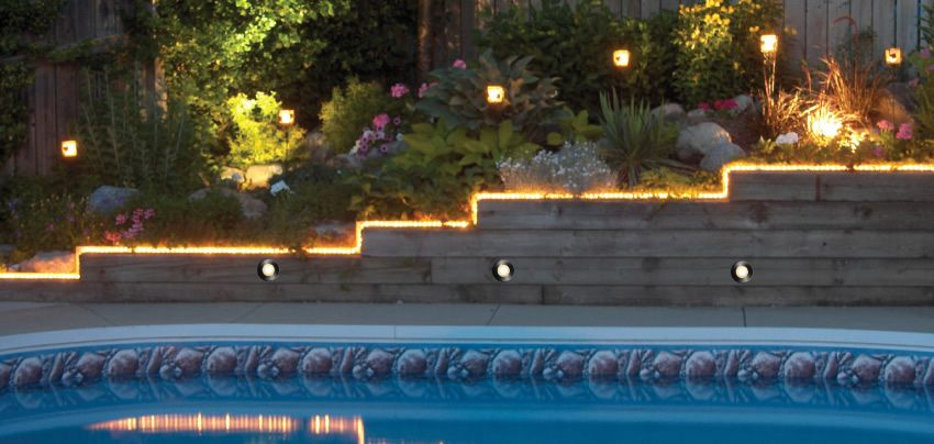 Inground pool with landscape lighting step lighting in wall and 235cb98f823de876747b7ac07bd7e905g mozeypictures Images