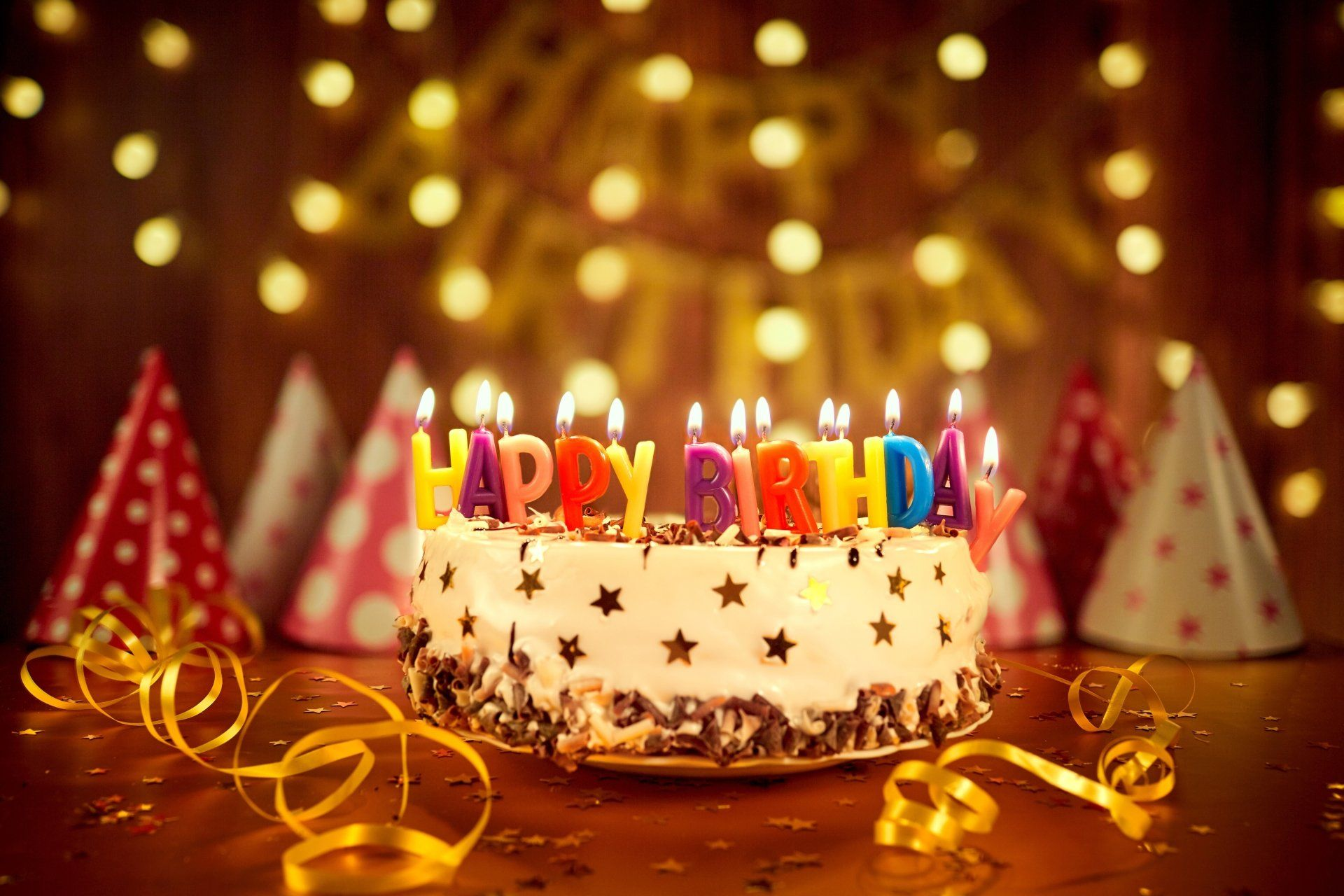 Holiday Birthday Happy Birthday Cake Colors Candle Pastry