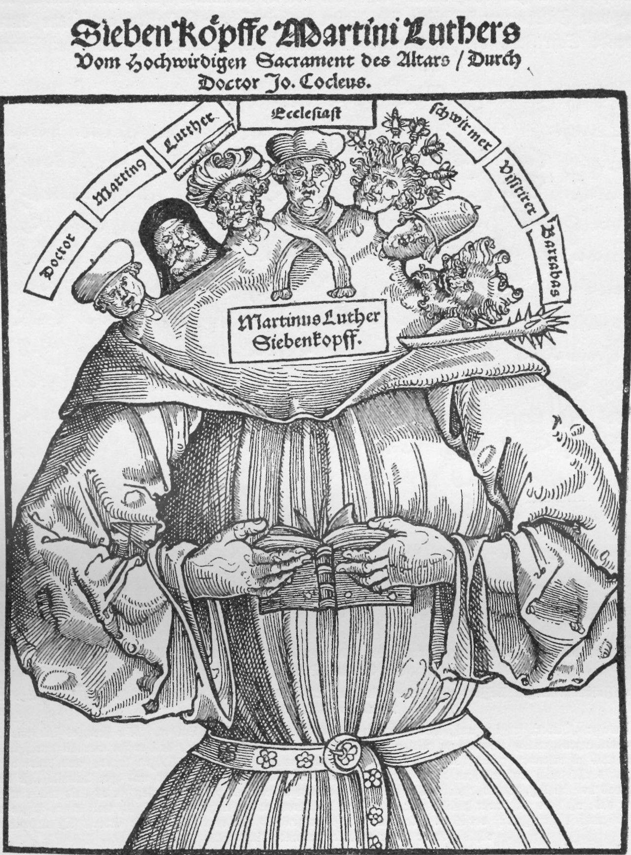 Seven Heads Of Martin Luther Anti Protestant Propoganda