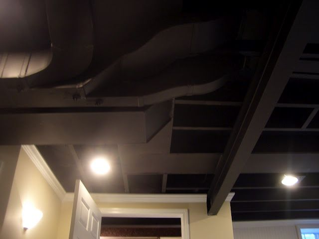 White Crown Molding At Top Sets It Off Nicely Painted Beams Amp Ceiling In The Basement Easy Diy