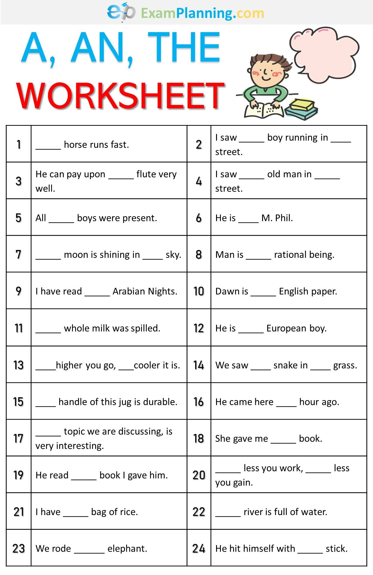 A An The Worksheet English Grammar For Kids English Lessons For Kids English Grammar Exercises