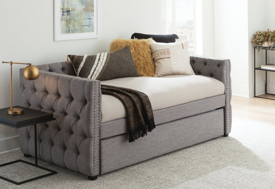 Scribner Button Tufted Full Daybed With Trundle Daybed With