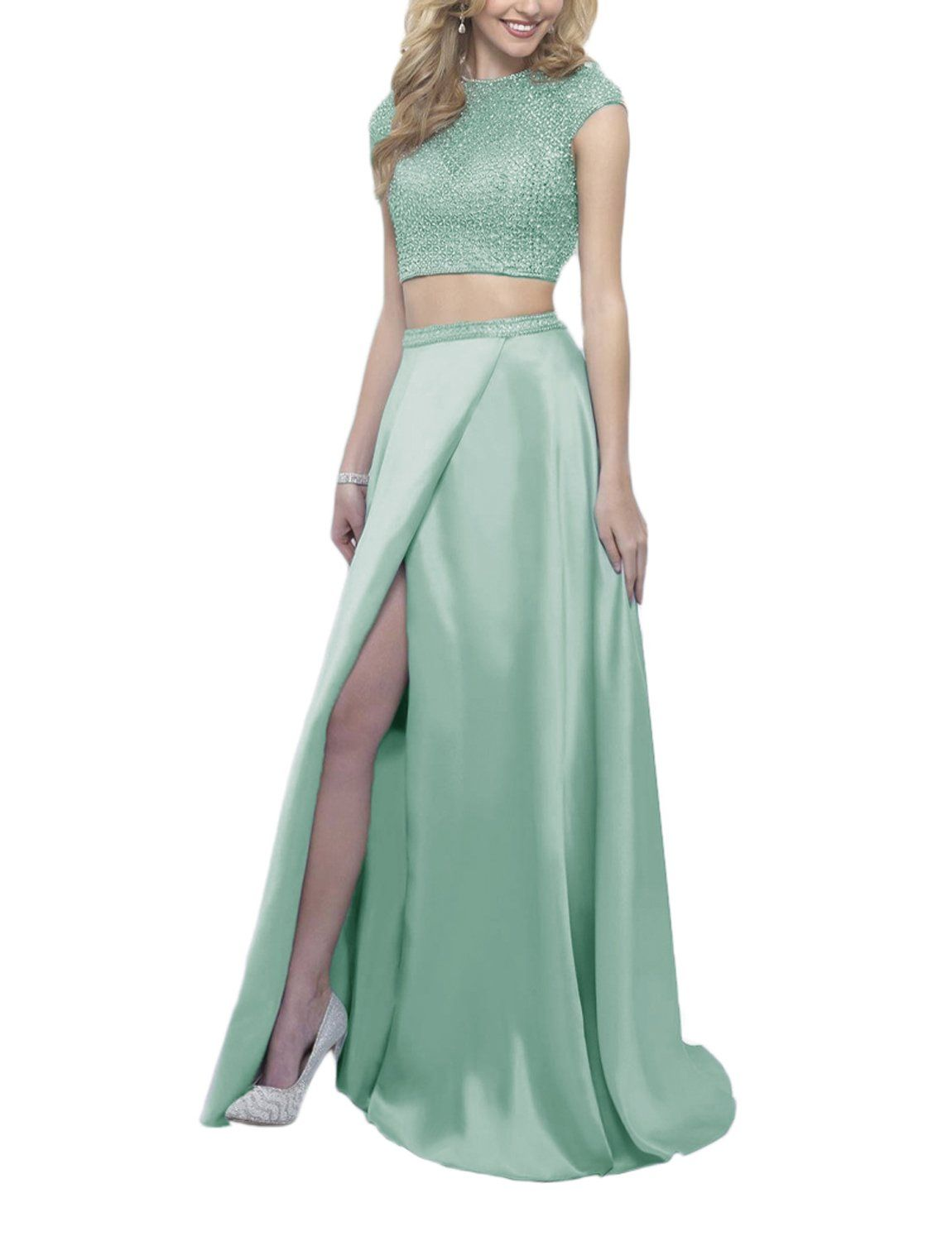 Gardenwed cap sleeves beading two pieces long prom dress satin