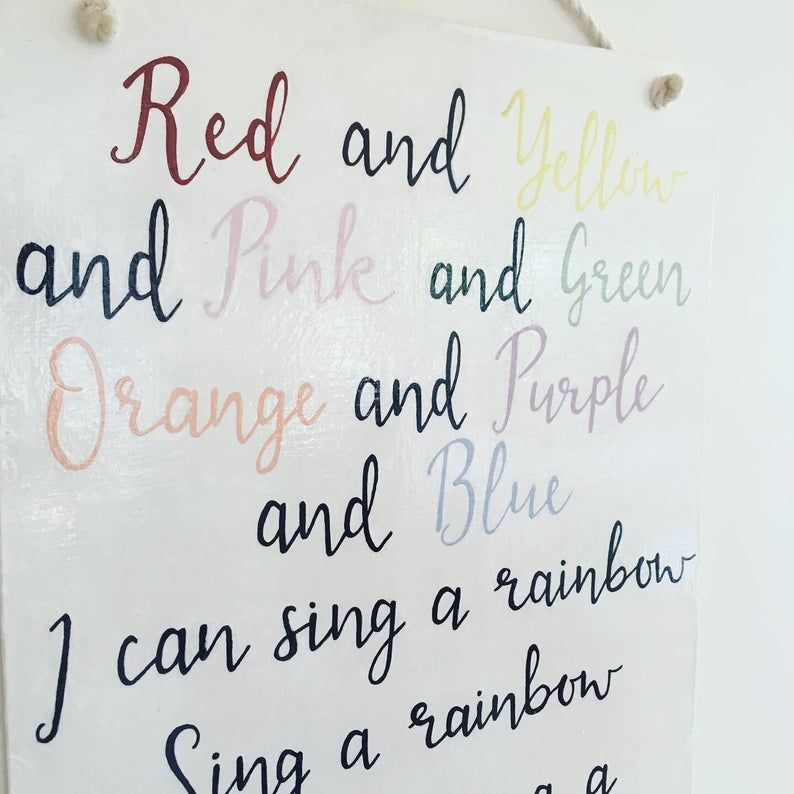Large Wooden Nursery Song Lyric Wall Hanging Sign I Can Sing A