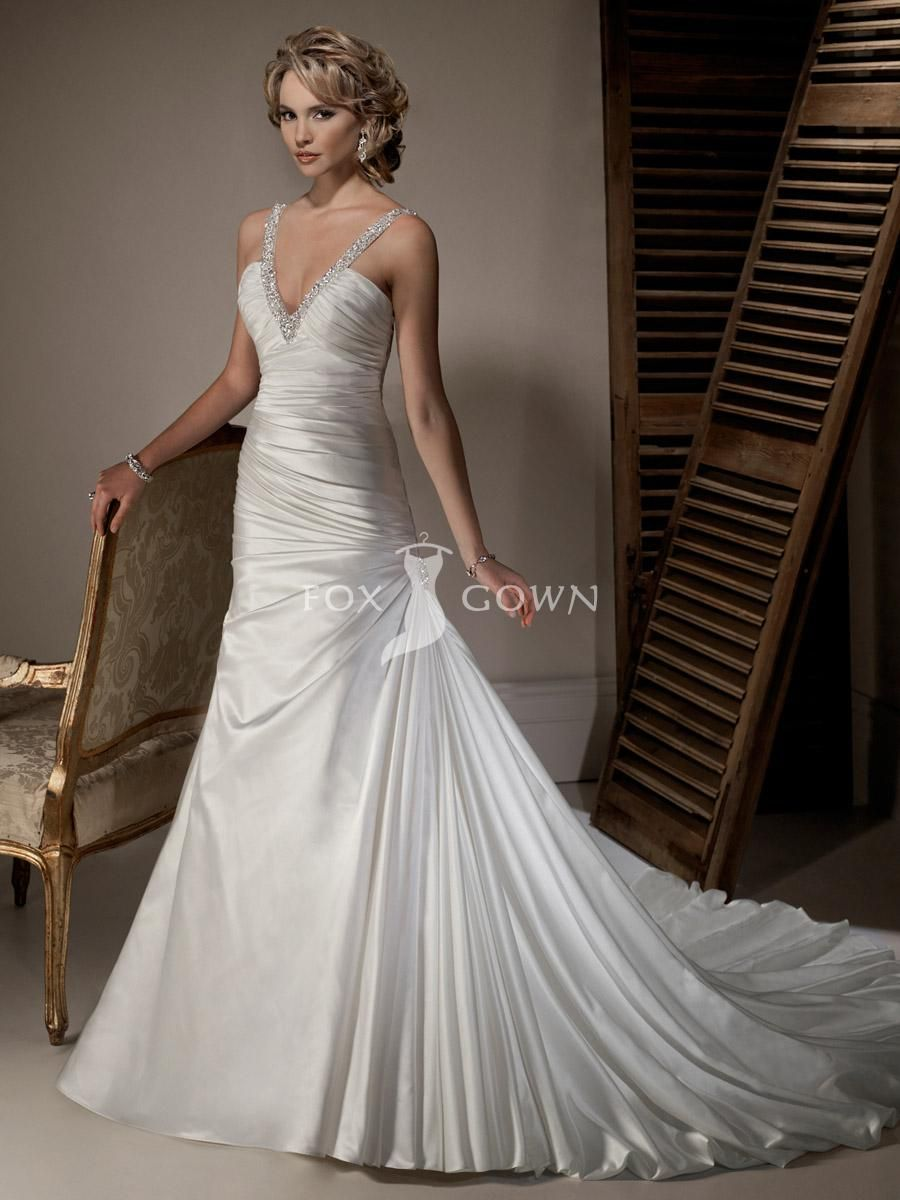 Designer A Line Satin Wedding Dress With Glamorous Beaded Strap Plunging Deep V Neckline