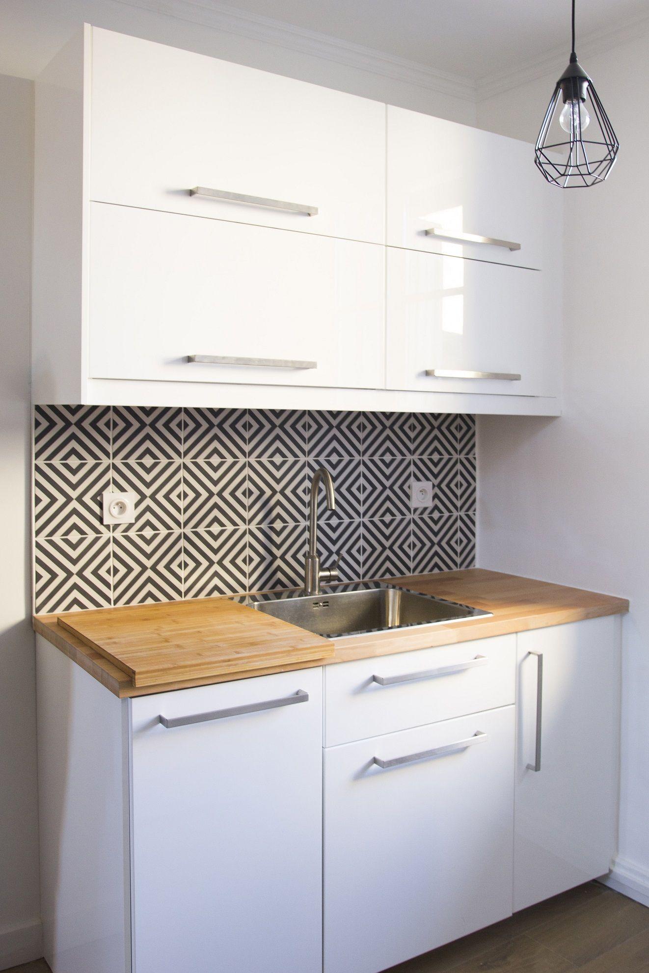 Cuisine Ikea Credence Dement Leroy Merlin Style Carreaux Ciment Noir Et Blanc Agencement Du Mobilier Amenagement Interieur Cuisine Moderne