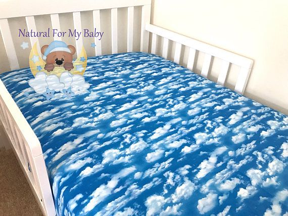3ec6d58f46216 Cotton Clouds Fitted Sheet Sky Clouds Nursery Blue Toddler Bedding ...