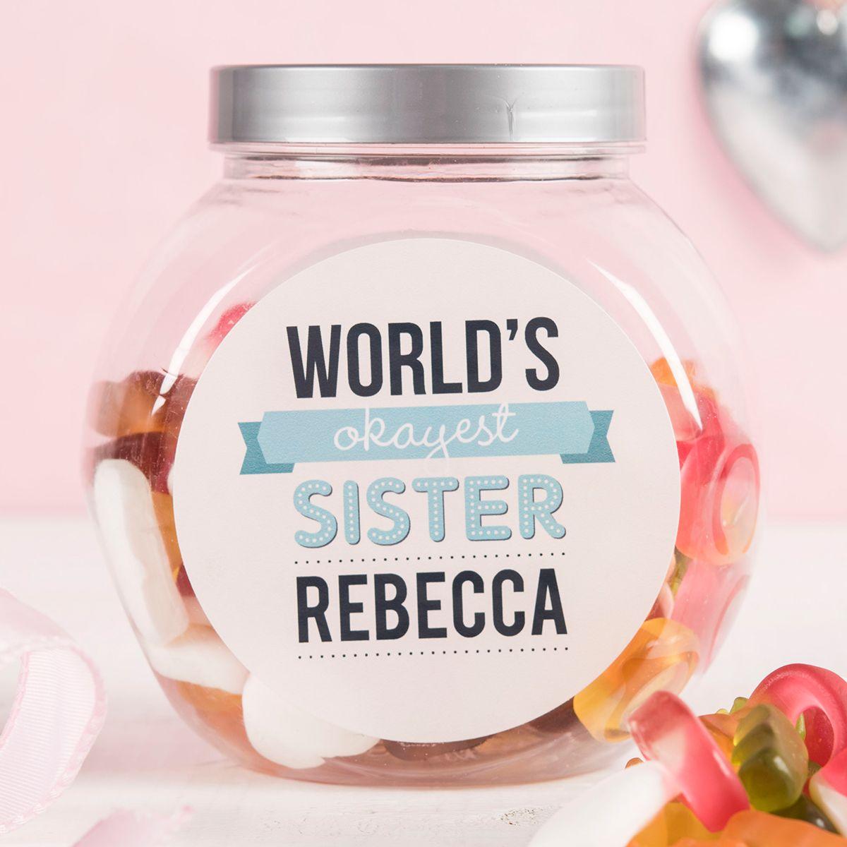 Personalised Haribo Sweet Jar Worlds Okayest Sister