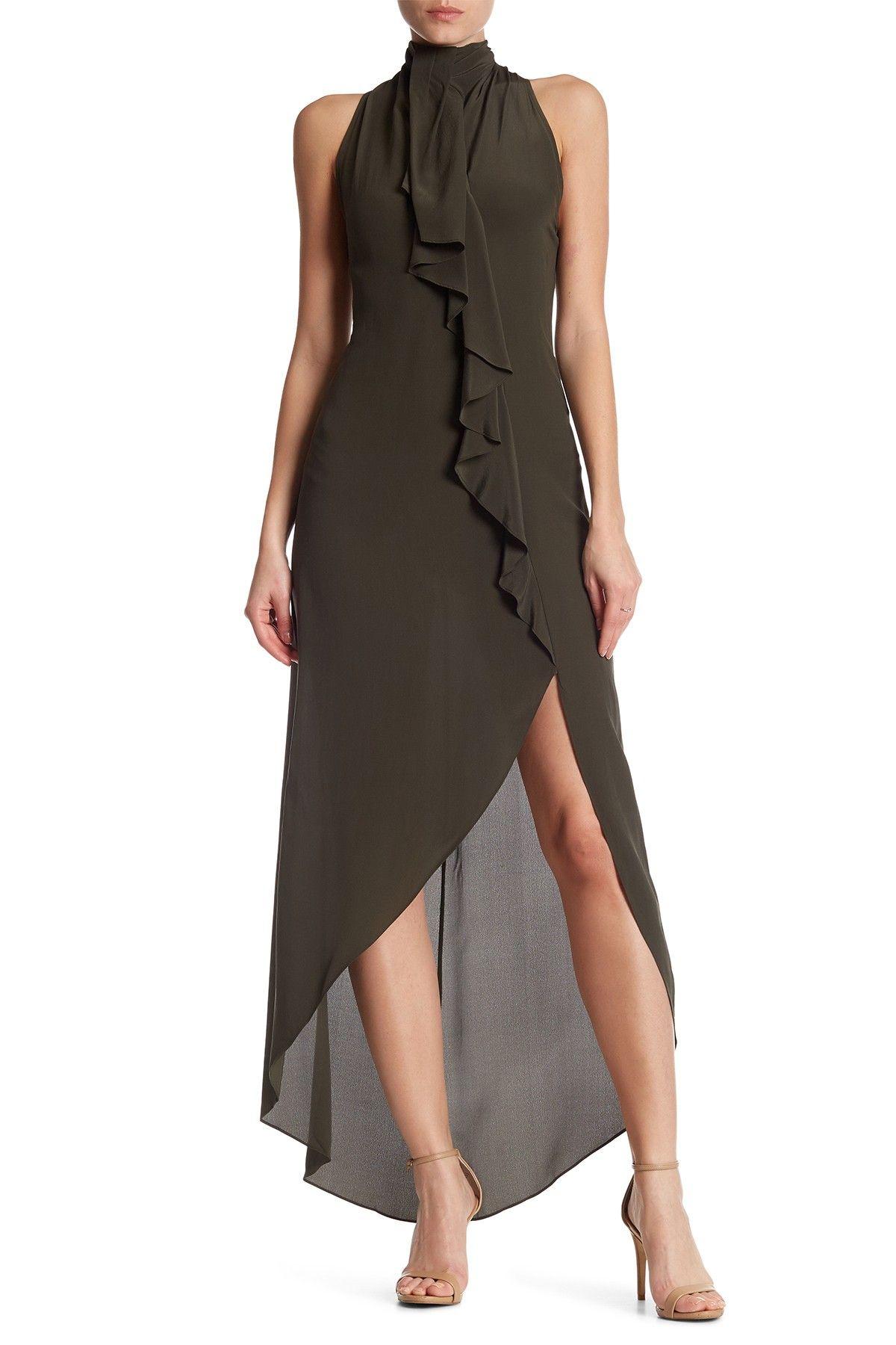 Haute Hippie High Neck Ruffle Hi Lo Silk Dress Nordstrom Rack Dresses Silk Dress Nordstrom Dresses