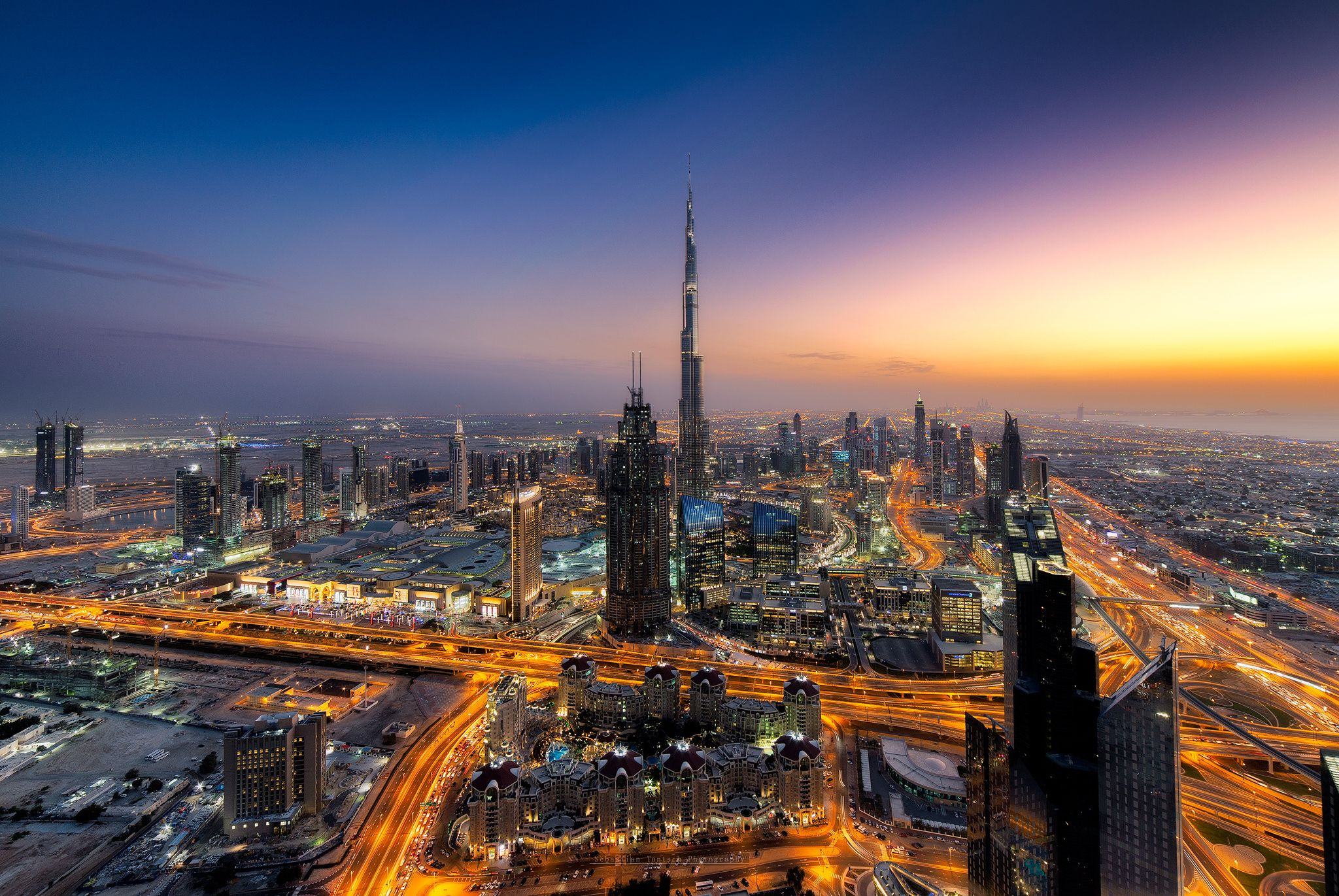 Burning Sky - Took this shot from the 73rd floor of The Index Tower , Downtown Dubai never fails to impress during blue hour !