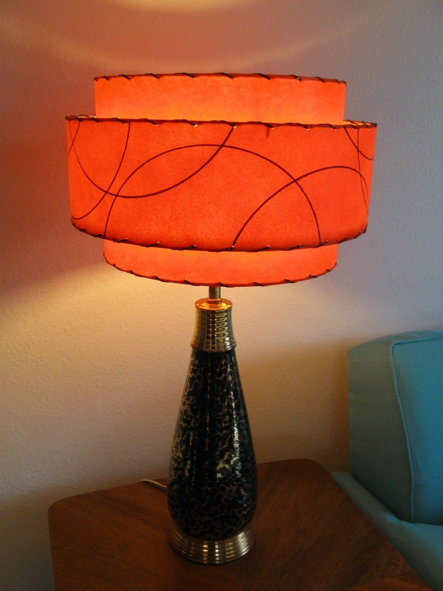 Elegant mid century vintage style with 3 tier fiberglass lamp shade burnt orange elegant mid century vintage style with 3 tier fiberglass lamp shade feat awesome modern atomic retro aloadofball Images
