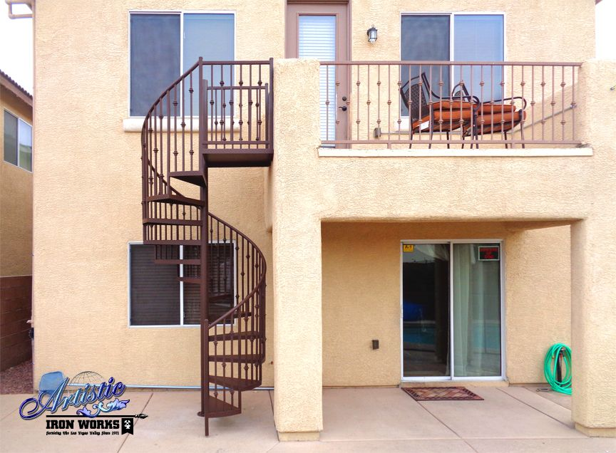 Best Custom Wrought Iron Spiral Staircase With Matching Railings 400 x 300