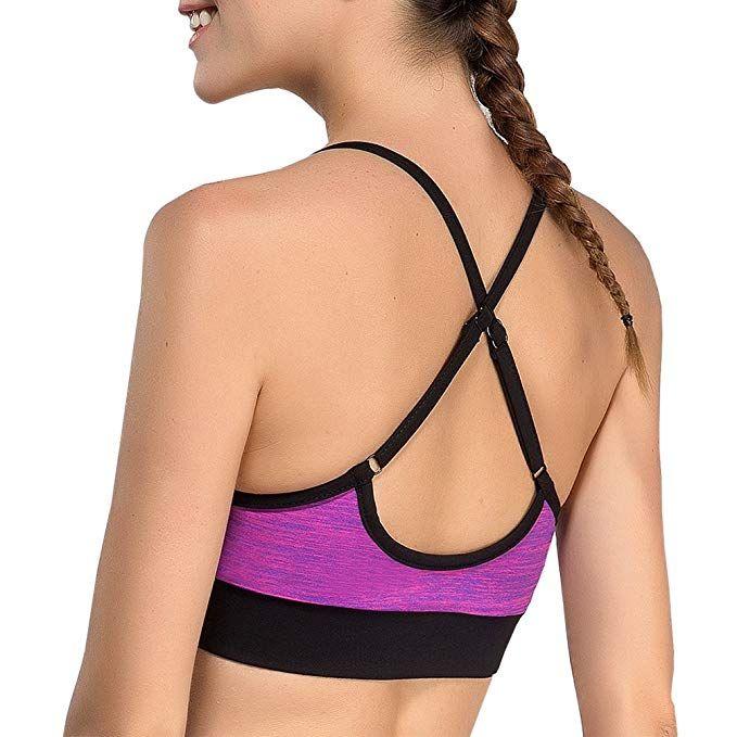60d220b1a8034 DISBEST Women s Halter Yoga Sports Bra Cross Back Wirefree Cami Bra Tops