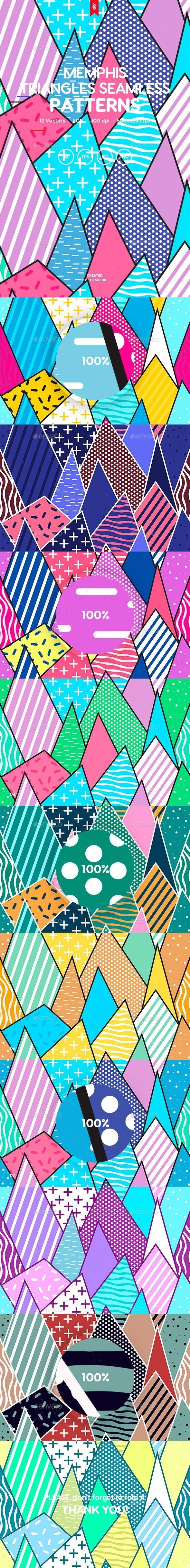 80s background Memphis Triangles Seamless Patterns. Professionally designed pattern background. #background #design #DigitalArt #pattern #80s #abstract #backdrops #backgrounds #bright #composition #creative #decoration #decorative #doodle #fashion #fun #geometric #graphics #illustrations #memphis #modern #patterns #PopArt #repeat #retro #seamless #shapes #style #stylish #surfaces #textures #triangles #vintage #wallpaper<br>