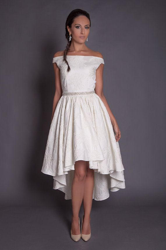 50s high low wedding dress in jacquard, ivory hi lo wedding dress ...