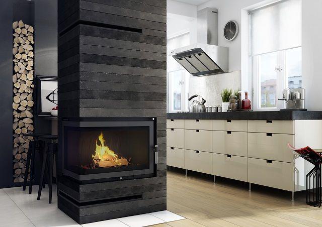Black Fireplace Column In A Modern Kitchen Fireplace Modern