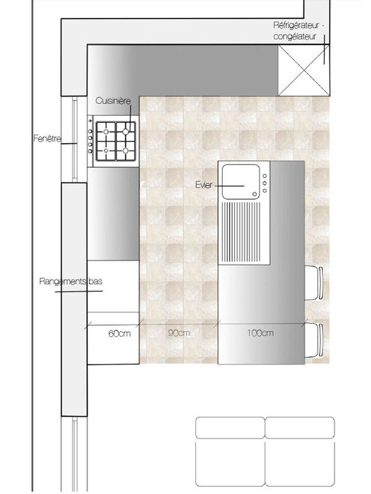 Plan cuisine avec lot central  Ides de kitchen