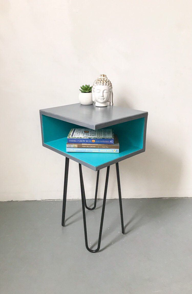 Light Grey Bedside Table: Nightstand With Floating Shelf, Teal