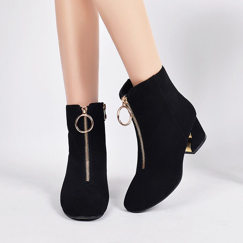 Click to Buy << Women's Spring Autumn Front Zip Low Heel Comfortable Ankle.  >>