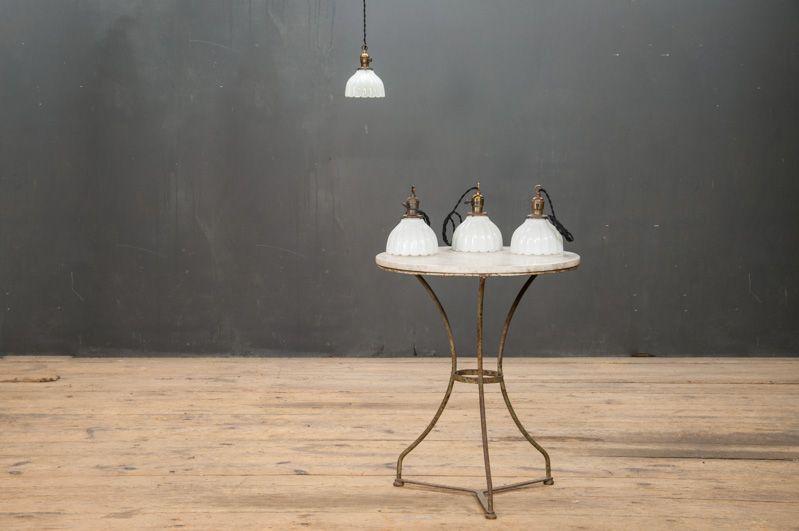 Maison Bistro Scalloped White Glass Pendants : Factory 20