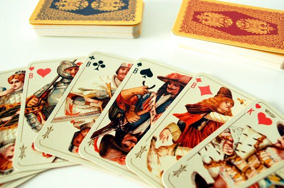 Vintage Canasta Playing Cards. €36.00. http://www.etsy.com/listing/95548019/vintage-playing-cards-romme-canasta-made