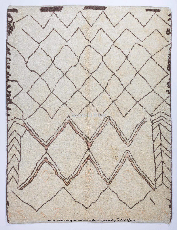 Moroccan Beni Ourain Berber Tribal Design Rug 100 Natural Etsy Wol Tribal Design